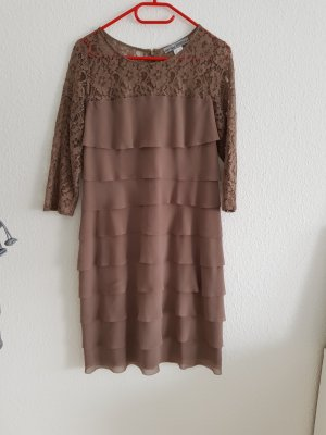 Ashley Brooke Flounce Dress grey brown