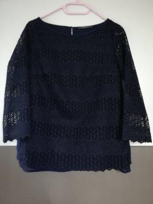 Esprit Koronkowa bluzka ciemnoniebieski