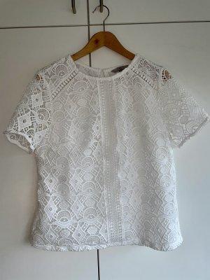 H&M Koronkowa bluzka biały