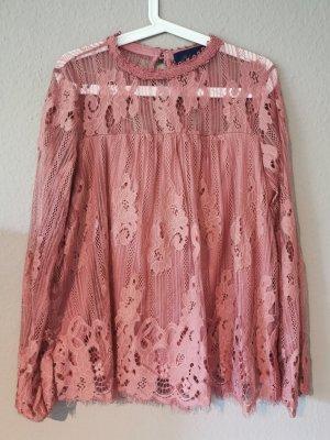 Blue Rain Kanten blouse stoffig roze