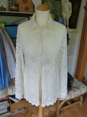 Avantgarde Blusa in merletto bianco sporco-crema