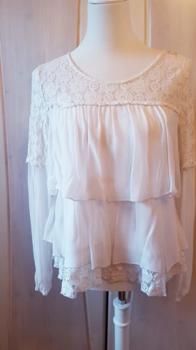 Cream Lace Blouse white mixture fibre