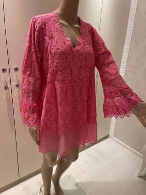 Made in Italy Blusa in merletto rosa