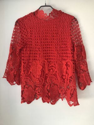 Vila Top en maille crochet rouge