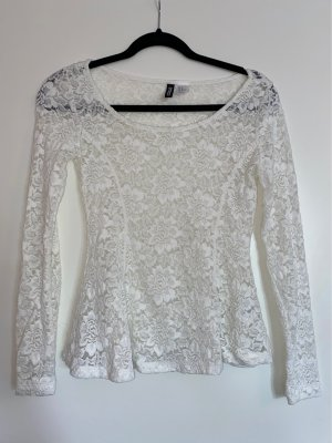 H&M Divided Lace Blouse white