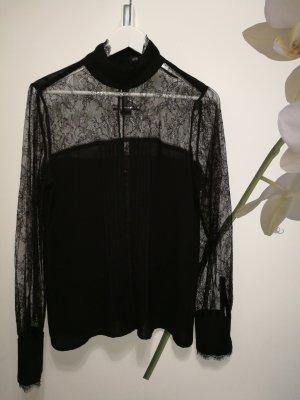 Spitzenbluse schwarz transparent 38