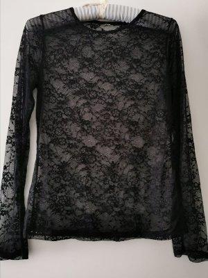 0039 Italy Blusa de encaje negro Poliéster
