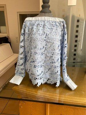 Steffen Schraut Blusa in merletto azzurro Cotone