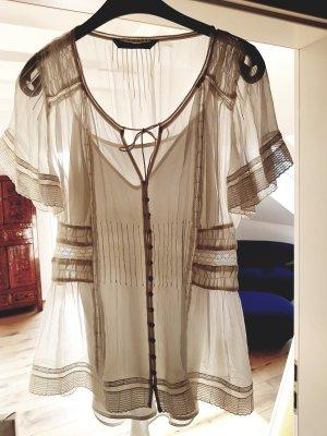 Zara Woman Koronkowa bluzka w kolorze białej wełny-kremowy