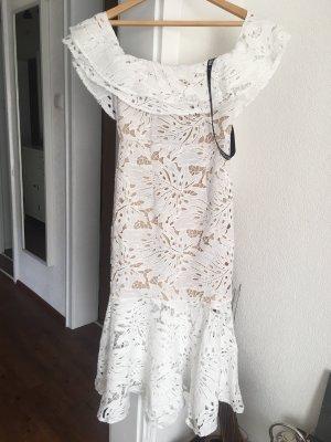 PrettyLittleThing Vestido estilo flounce blanco puro-beige Poliéster