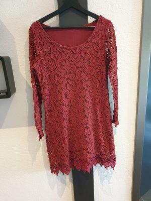 aus Italien Lace Dress dark red