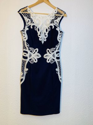 Lipsy Vestido ceñido de tubo azul oscuro-blanco Licra