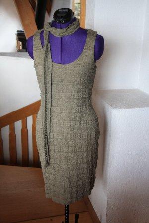Promod Koronkowa sukienka khaki-oliwkowy