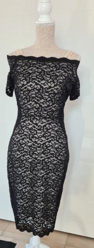 Orsay Koronkowa sukienka czarny-jasnobeżowy