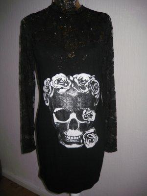 Spitzenkleid mit Skull schwarz Lila Gr S/M Neu