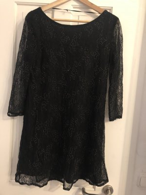 Zara Vestido de encaje negro-color plata