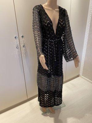 AZAKA Paris Floor-Lenght Coat black-silver-colored