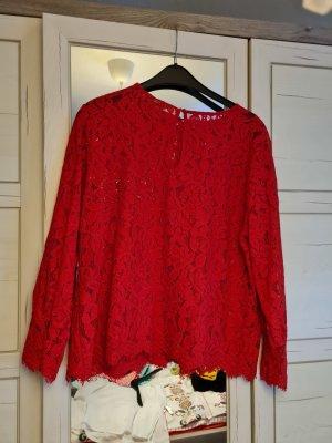 H&M Koronkowa bluzka czerwony