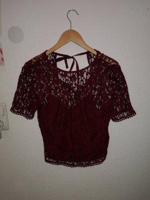 H&M Crochet Shirt blackberry-red