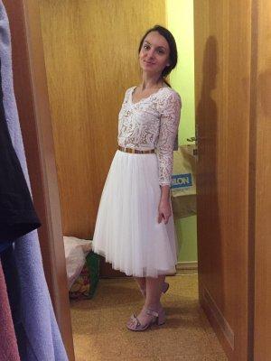 Falda de tul blanco-color rosa dorado