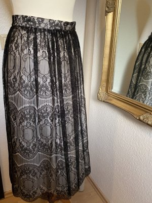 Classic  Style Falda de encaje negro-blanco Seda