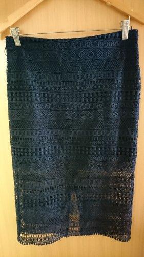 Mango Suit Koronkowa spódnica ciemnoniebieski