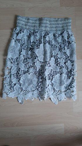 Kanten rok lichtblauw-grijs-groen