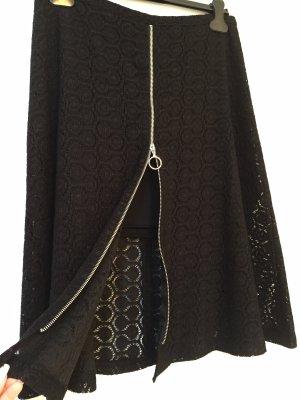 Zara Jupe mi-longue noir-argenté