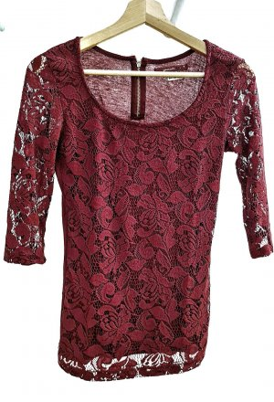 BSK by Bershka Lace Top dark red-carmine