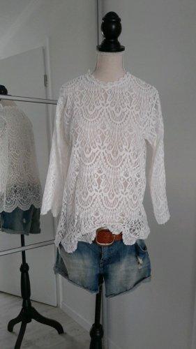 Zara Blusa in merletto bianco sporco-crema