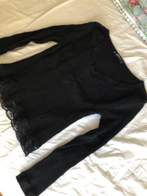 Fishbone Geribd shirt zwart