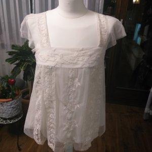 Promod Blusa de encaje crema