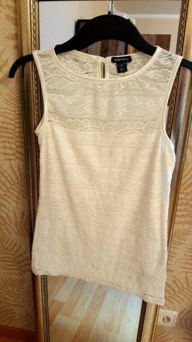 Amisu Koszulka basic biały-w kolorze białej wełny