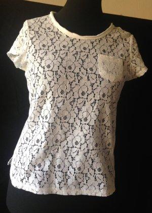 Manguun Top en maille crochet blanc tissu mixte