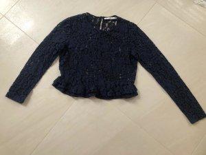 Zara Trafaluc Blusa in merletto blu scuro Tessuto misto