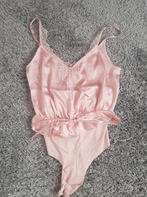 Bershka Lace Top dusky pink-pink