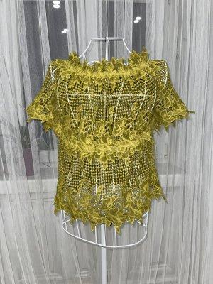 Top di merletto giallo lime-verde oliva