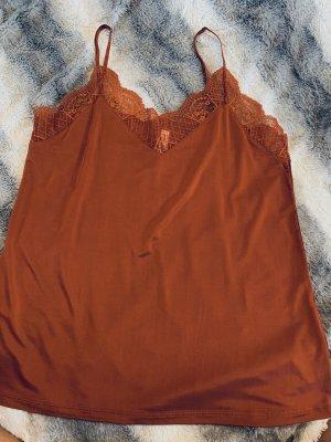 Samsøe & samsøe Koronkowy top rudy-ciemny pomarańcz Cupro