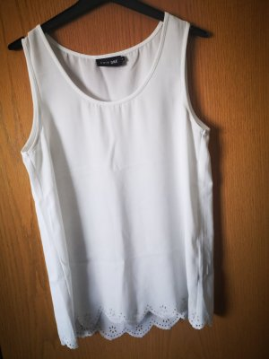 Only Top di merletto bianco sporco