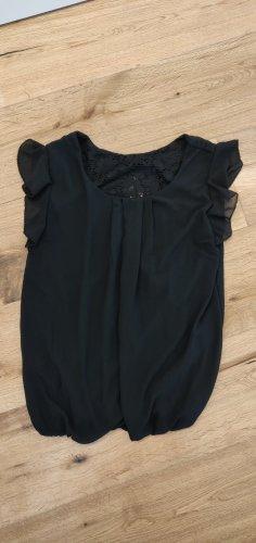 Spitzentop, Spitzenshirt, schwarz, luftig, Flügelärmel, Spitze, Gr. 38