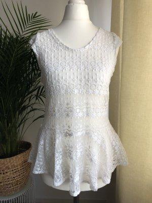 Zara Top peplo bianco-bianco sporco