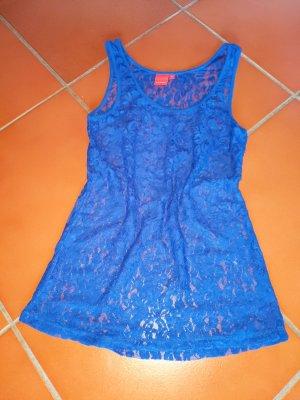 spitzentop von livre neuwertig blau-transparent royalblau königsblau 34 XS