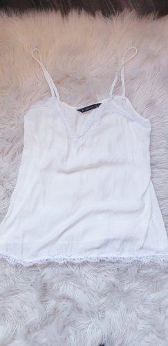 Zara Basic Haut en dentelle blanc