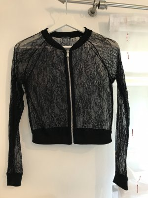 Zara Blouse Jacket black-silver-colored