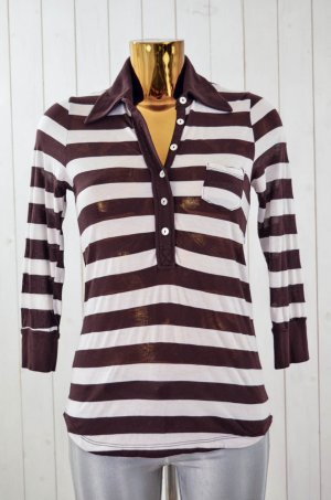 SPLENDID Damen Shirt Polo-Shirt Braun Weiß Baumwolle Modal 3/4-Arm Gr.M