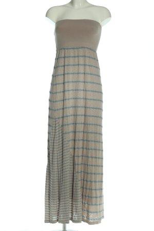 Splendid schulterfreies Kleid hellgrau-blau Streifenmuster Elegant