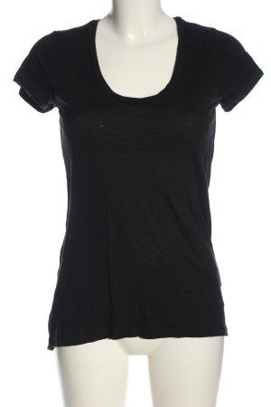 Splendid Koszulka z dekoltem w łódkę czarny W stylu casual