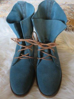 Spm Bottines à lacets bleu pétrole cuir