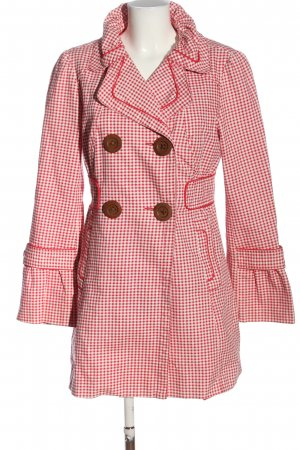 Spoom Between-Seasons-Coat red-white allover print business style