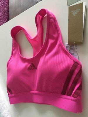 Sport BH Oberteil Neon Pink Adidas Mesh Einsatz